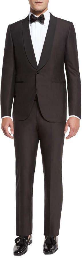 Ermenegildo Zegna Grosgrain-Collar Tuxedo Suit, Brown