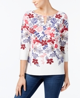 Charter Club Petite Printed Keyhole Top, Created for Macy's