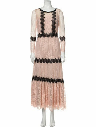 Marchesa Lace Pattern Long Dress Pink