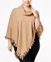Alfani Plus Size Faux-Fur-Trim Cowl-Neck Poncho, Only at Macy's