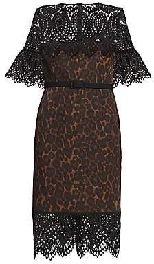 Erdem Women's Kiya Lace Yoke Leopard-Print Sheath Dress