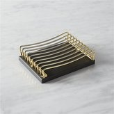 CB2 Perry Black And Brass Soap Dish