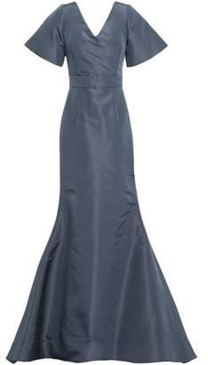 Oscar de la Renta Open-back Bow-detailed Silk-faille Gown