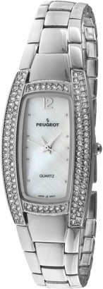 Peugeot Ladies Bracelet Watch with Two Rows of Swarovski Crystals Encrusted on Bezel and Mother of Pearl Dial and Jewelery Style Self Adjustable Clasp