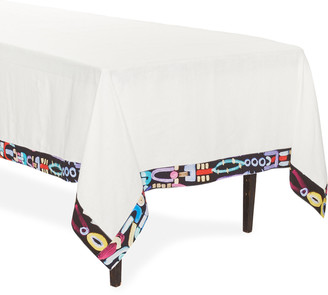 Le Botteghe Su Gologone Abstract Trim Linen Tablecloth