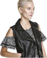 Joe Fresh Women's Vegan Leather Vest, JF Black (Size XL)