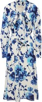 Tory Burch Pussy-bow Embellished Floral-print Georgette Midi Dress