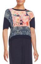 Nanette Lepore Mixed-Print Knit Top