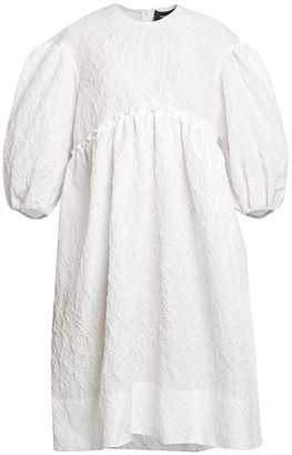 Simone Rocha Cloque Puff-Sleeve Smock Dress