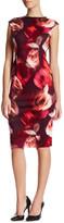 London Times Faux Leather Rose Print Sheath Dress (Petite)