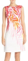 Ellen Tracy Women's Print Shantung Sheath Dress