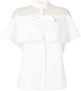 DELPOZO Sheer Panel Ruffle Shirt