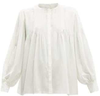 Chloé Pintucked Silk Blouse - Womens - Ivory