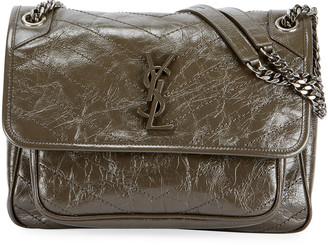 Saint Laurent Niki Medium Crinkled Calf Flap-Top Shoulder Bag