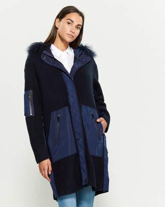 P.A.R.O.S.H. Real Fur Rib Knit Long Sleeve Mix Media Jacket