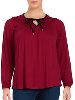 MICHAEL Michael Kors Plus Velvet-Accented Long Sleeve Tie Neck Blouse