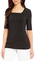 Investments Petites Square Neck Elbow Sleeve Solid Top