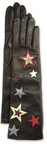 Agnelle Star-Embroidered Leather Gloves, Black