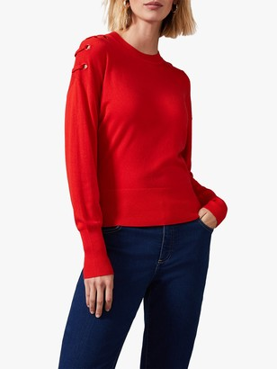 Phase Eight Essie Eyelet Shoulder Knit Jumper, Red