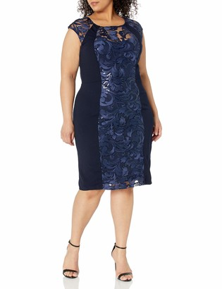 Sangria Women's Cap Sleeve Lace Sheath Dress