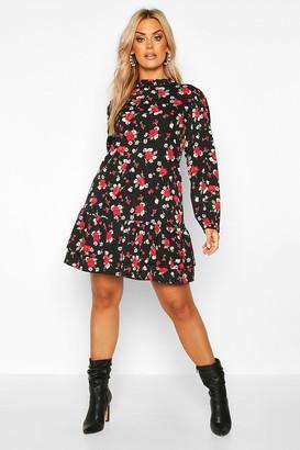 boohoo Plus Floral Rose High Neck Smock Dress
