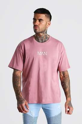 BoohoomanBoohooMAN Mens Purple Oversized Original MAN Print T-Shirt, Purple