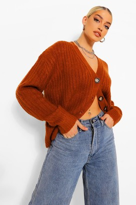 boohoo Rib Knit Oversized Boyfriend Cardigan