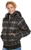 Urban Republic Juniors' Hooded Plaid Bomber Jacket