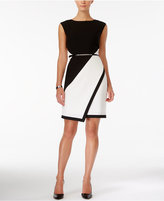 Sandra Darren Colorblocked Belted Sheath Dress