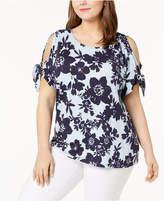 Calvin Klein Plus Size Cold-Shoulder Top