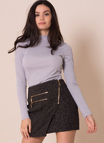 Missy Empire Alyx Dark Grey Front Wrap Mini Skirt