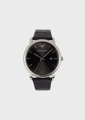 Emporio Armani Man Three-Hands Leather Watch