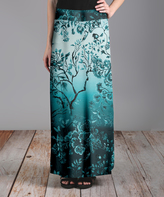 Lily Teal & Black Floral Maxi Skirt - Plus Too