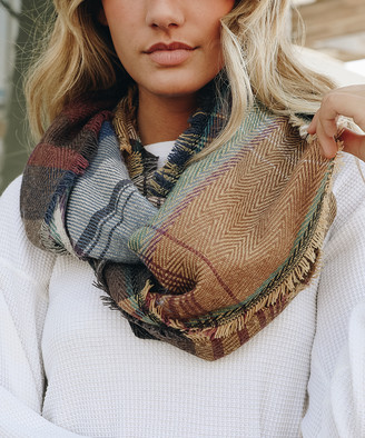 Leto Collection Women's Cold Weather Scarves CAMEL - Camel & Blue Plaid Frayed Infinity Scarf - Women