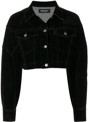 Christian Dada flock-print denim jacket