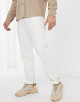 Jack & Jones Intelligence loose fit contrast stitch jeans in off white