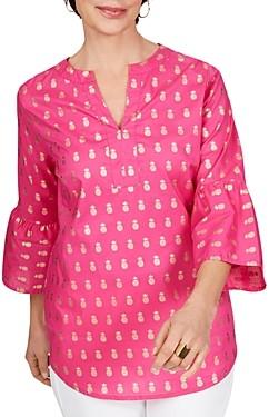 Foxcroft Reagan Cotton Foil Pineapples Top