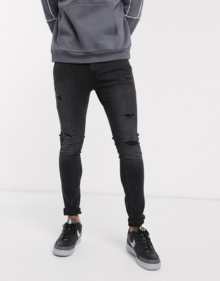 Jack and Jones Intelligence skinny fit ripped jeans in washed black