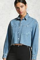 Forever 21 FOREVER 21+ Raw-Cut Denim Shirt