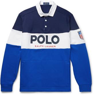 Polo Ralph Lauren Logo-Print Colour-Block Fleece-Back Cotton-Blend Jersey Rugby Shirt