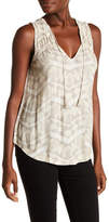 Lucky Brand Geo Smocked Shell Tank