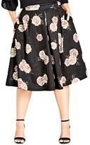 City Chic Plus Antique Rose Pleated Midi Skirt