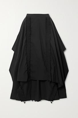 MINJUKIM Draped Shirred Taffeta Maxi Skirt - Black