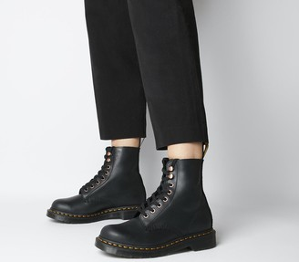 Dr. Martens 8 Eyelet Soap Stone Boots Black