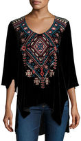 Johnny Was Lorne 3/4-Sleeve Embroidered Velvet Top