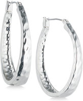 Nine West Silver-Tone Domed Textured Hoop Earrings