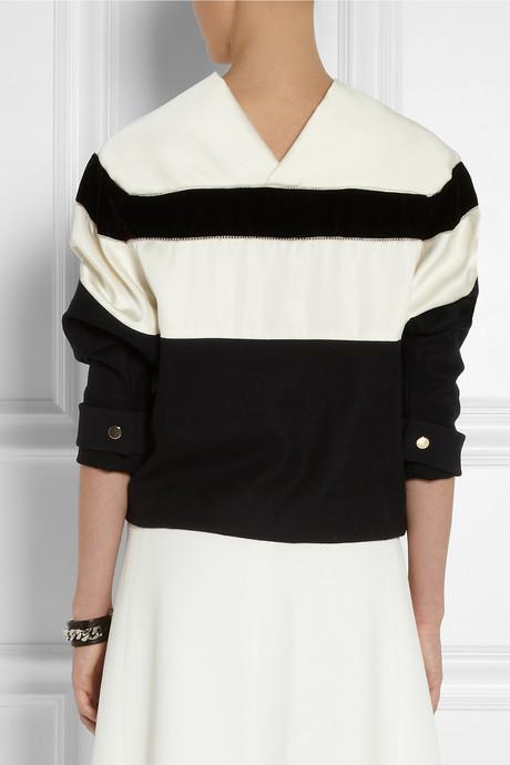 Chloé Striped satin, velvet and crepe top