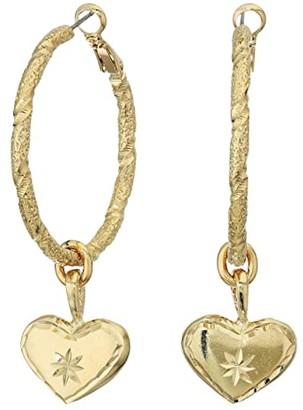 Vanessa Mooney The Etched Heart Hoop Earrings (Gold) Earring