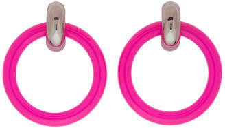 Balenciaga Pink and Silver Extra Small Hoop Earrings