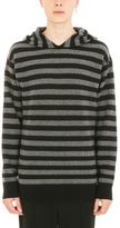 Alexander Wang Striped Black Grey Wool Hoodie